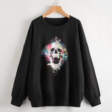 Skull Graphic Drop Shoulder Oversized Sweatshirt