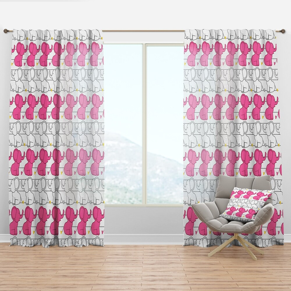 Designart 'Elephant Pattern' Tropical Curtain Panel (50 in. wide x 120 in. high - 1 Panel)