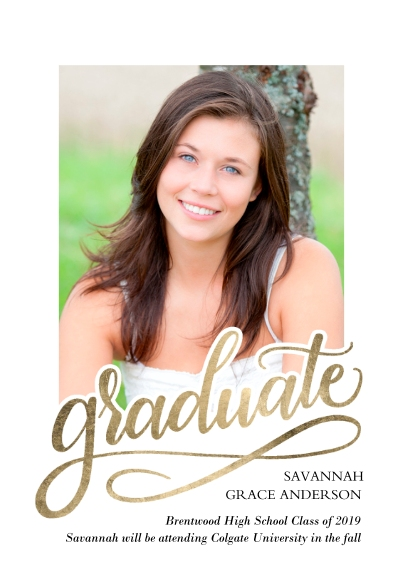 Graduation Announcements Flat Glossy Photo Paper Cards with Envelopes, 5x7, Card & Stationery -Graduate Swirl