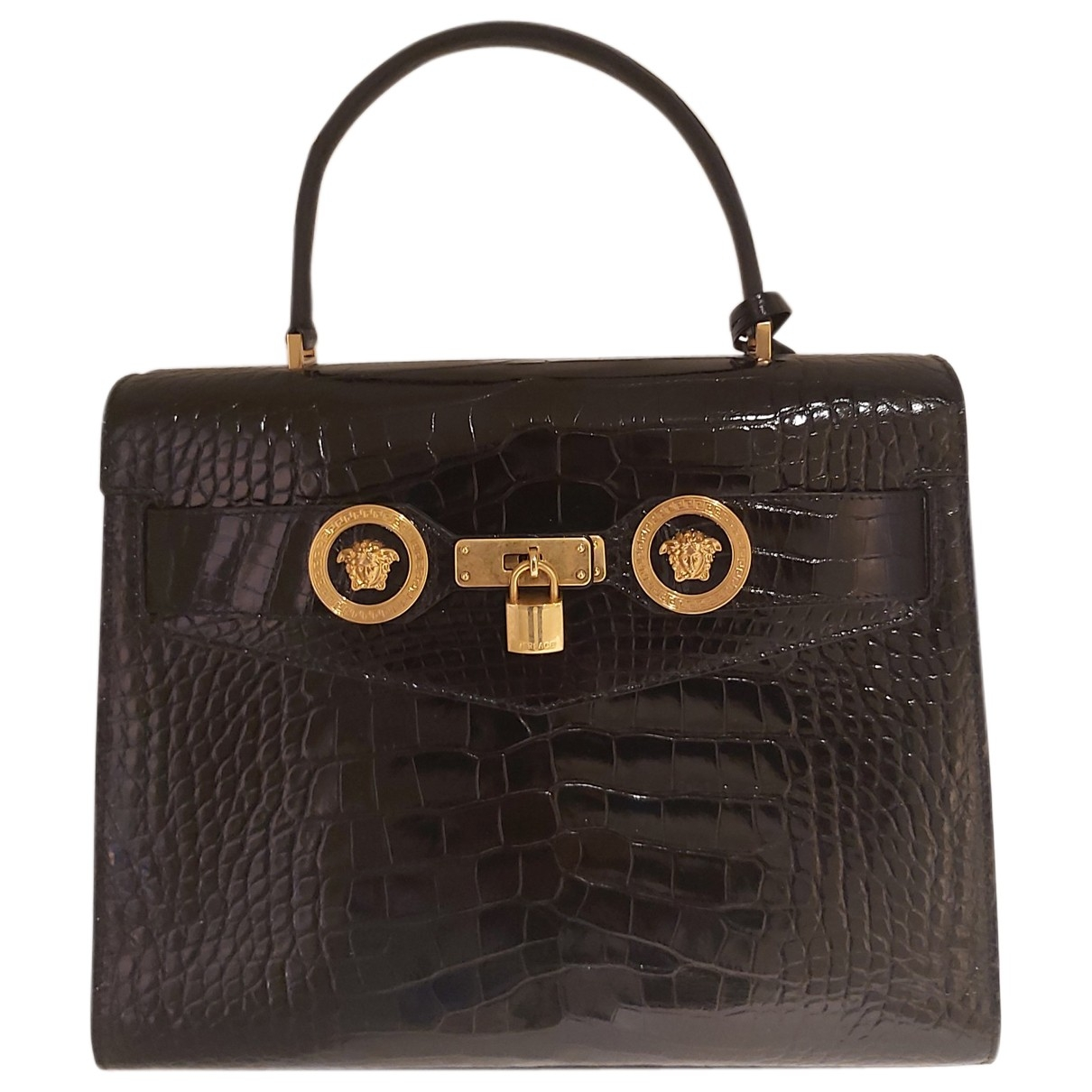 Gianni Versace \N Handtasche in  Schwarz Aligator