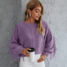 Cable Knit Fringe Solid Sweater