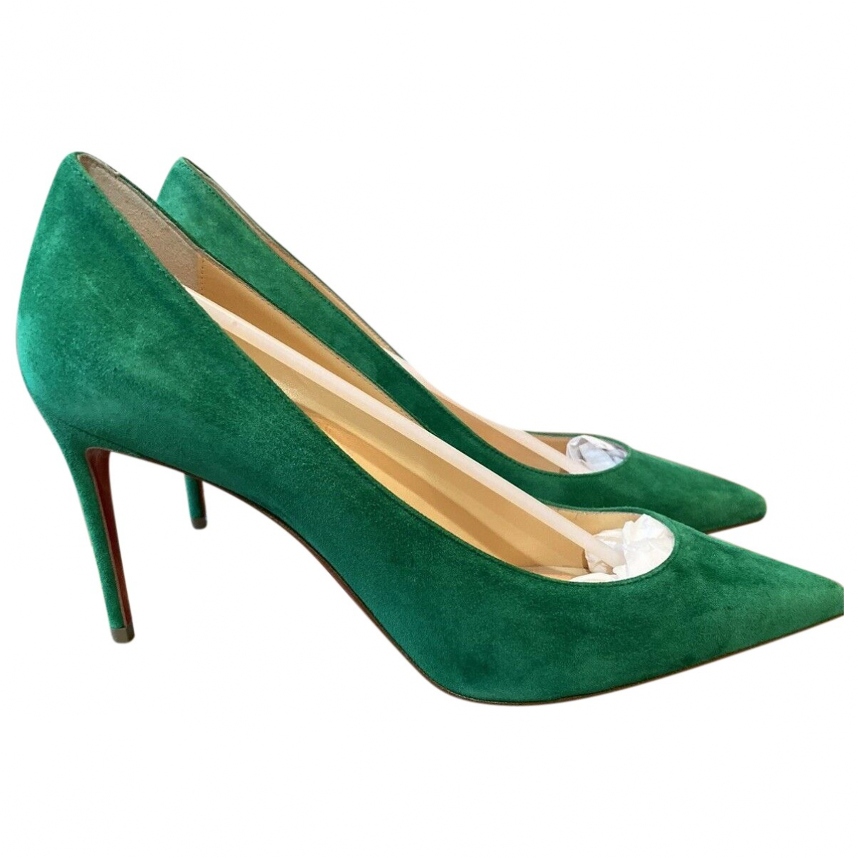 Christian Louboutin \N Green Suede Heels for Women 35.5 EU