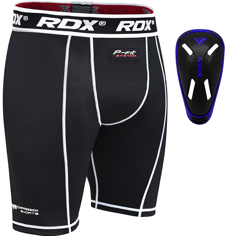 RDX Pantalons de Compression and Coquille Protection Grande  Bleu Neoprene