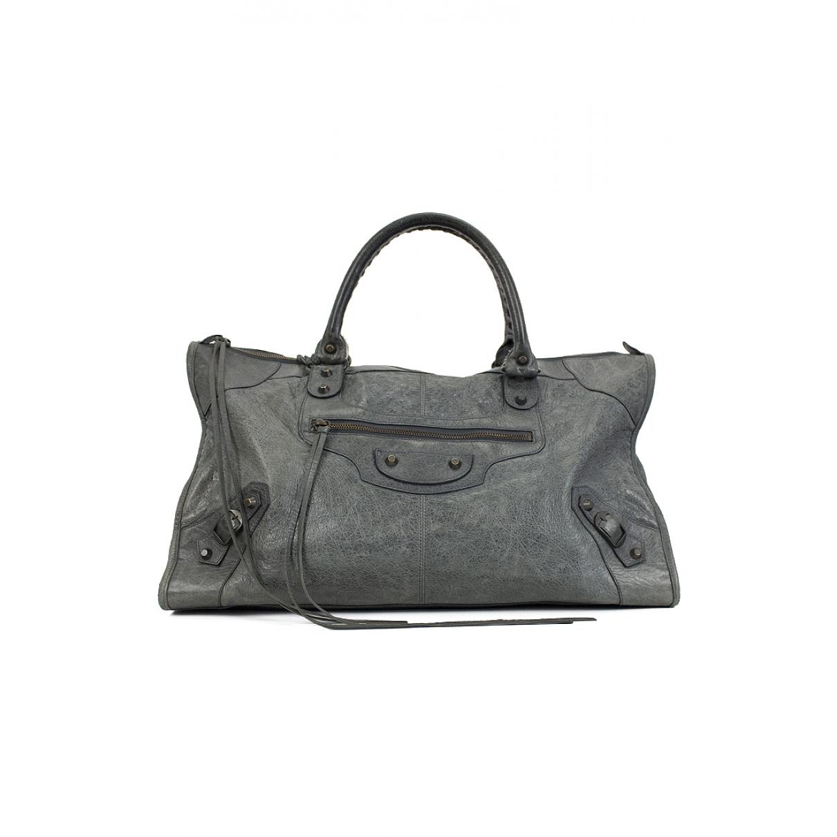 Balenciaga Work Handtasche in  Grau Leder