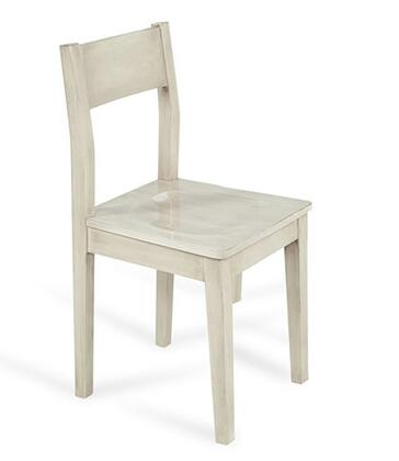 2BBO-CHAIR-LUNA Luna Chair with Slat Back and Tapered Legs in White Washed Glossy