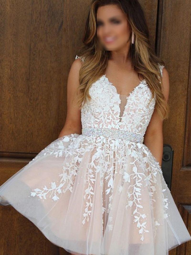 Ericdress A-Line V-Neck Short Beading Homecoming Dress