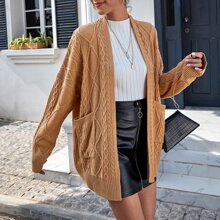 Patch Pocket Belted Cable Knit Cardigan