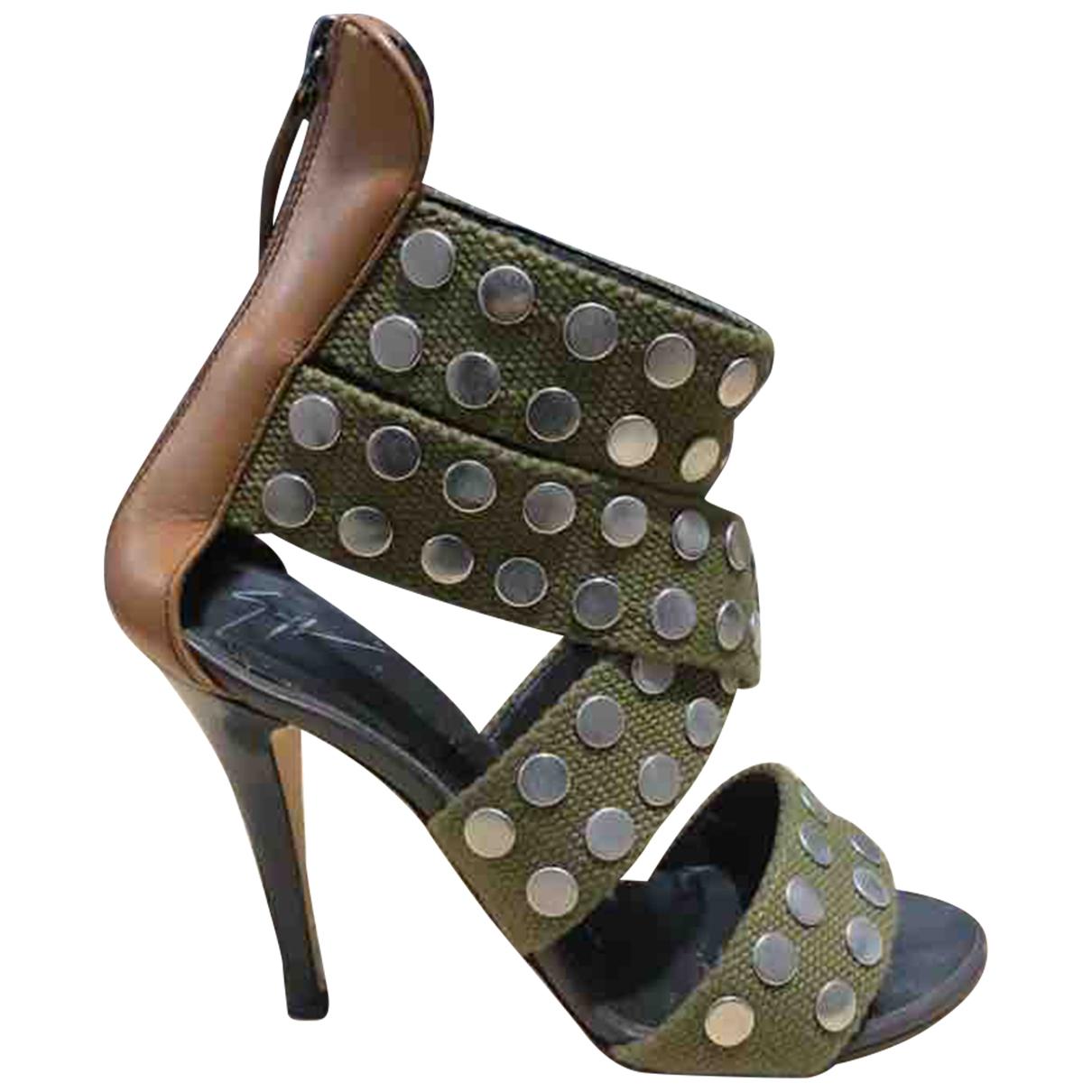 Giuseppe Zanotti \N Khaki Cloth Sandals for Women 36 EU