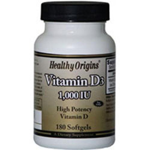 Vitamin D3 180 Soft Gels by Healthy Origins