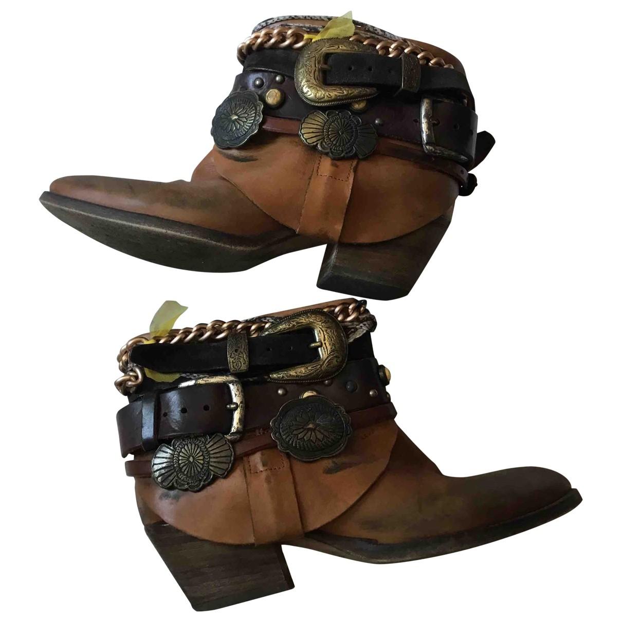 Elena Iachi - Boots   pour femme en cuir - marron