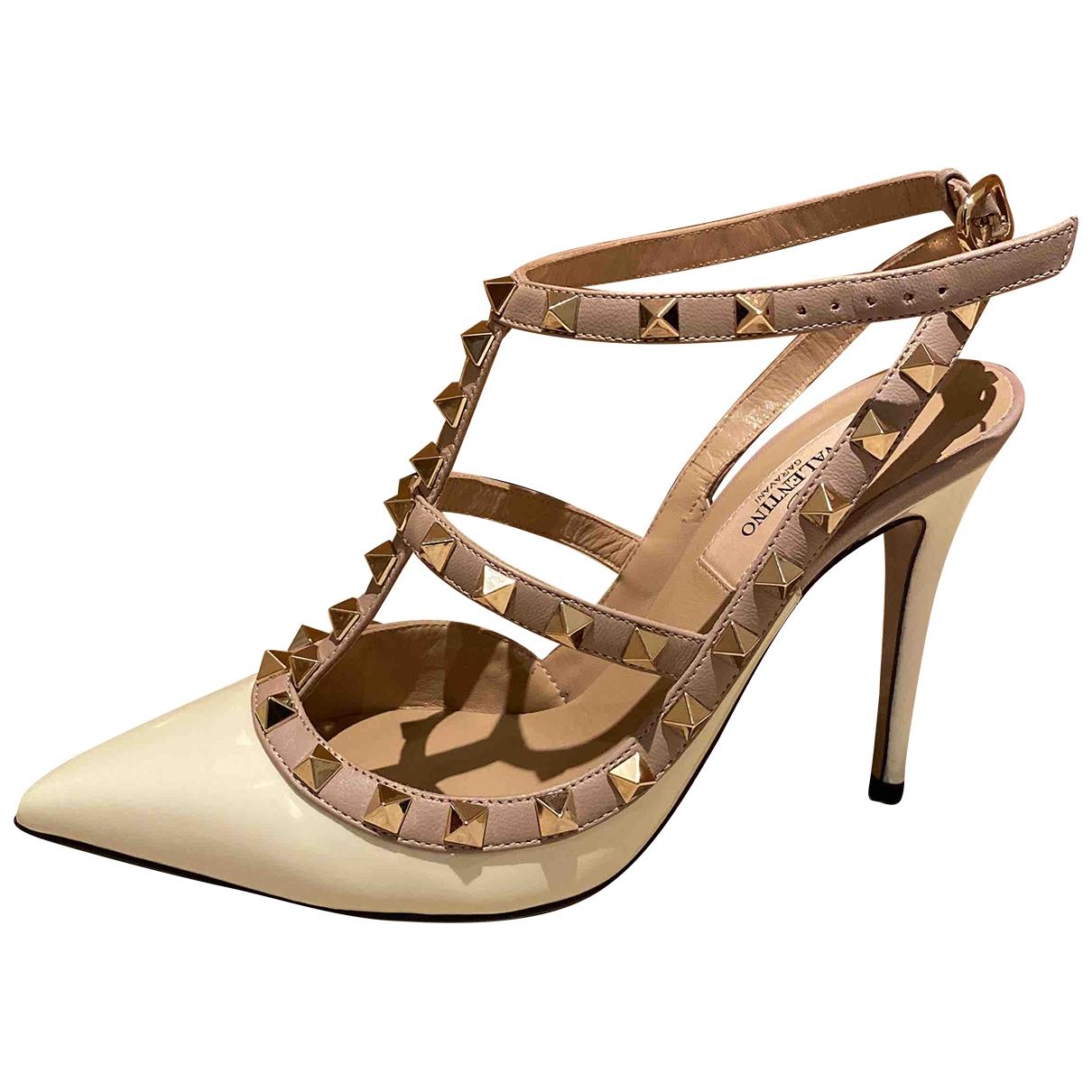 Valentino Garavani Rockstud White Patent leather Heels for Women 36.5 EU