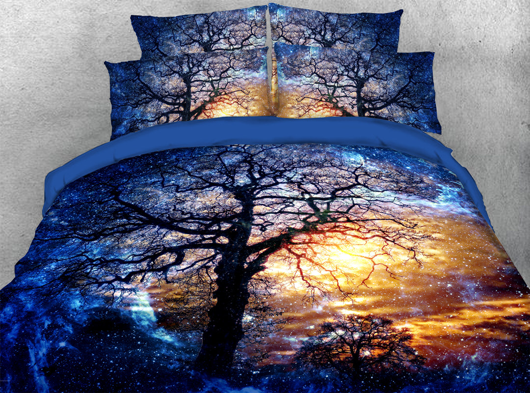 Black Tree 3D 4-piece No-fading Soft Bedding Sets Durable Reactive Printing Zipper Duvet Cover with Ties
