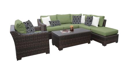 RIVER-07f-CILANTRO Kathy Ireland Homes and Gardens River Brook 7-Piece Wicker Patio Set 07f - 1 Set of Truffle and 1 Set of Forest