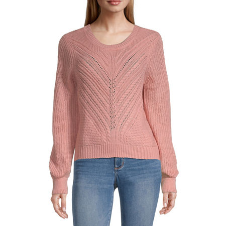 Almost Famous-Juniors Womens Scoop Neck Long Sleeve Pullover Sweater, X-large , Pink