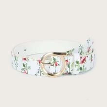 Cinturon con hebilla con patron de flor