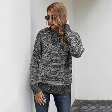 Space Dye Button Detail Sweater