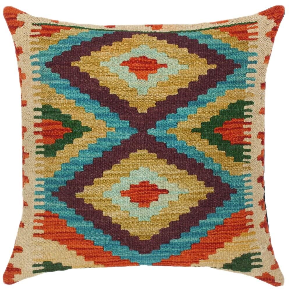 Bauhaus Devorah Hand-Woven Turkish Kilim Throw Pillow (Polyester - 18 in. x 19 in. - Accent - Blue - Single)