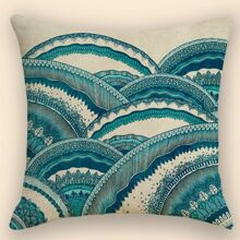 1pc Cartoon Sea Wave Print Cushion Cover Without Filler