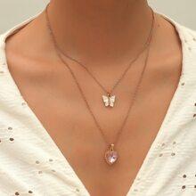 Mehrschichtige Halskette mit Herzen & Schmetterling Dekor