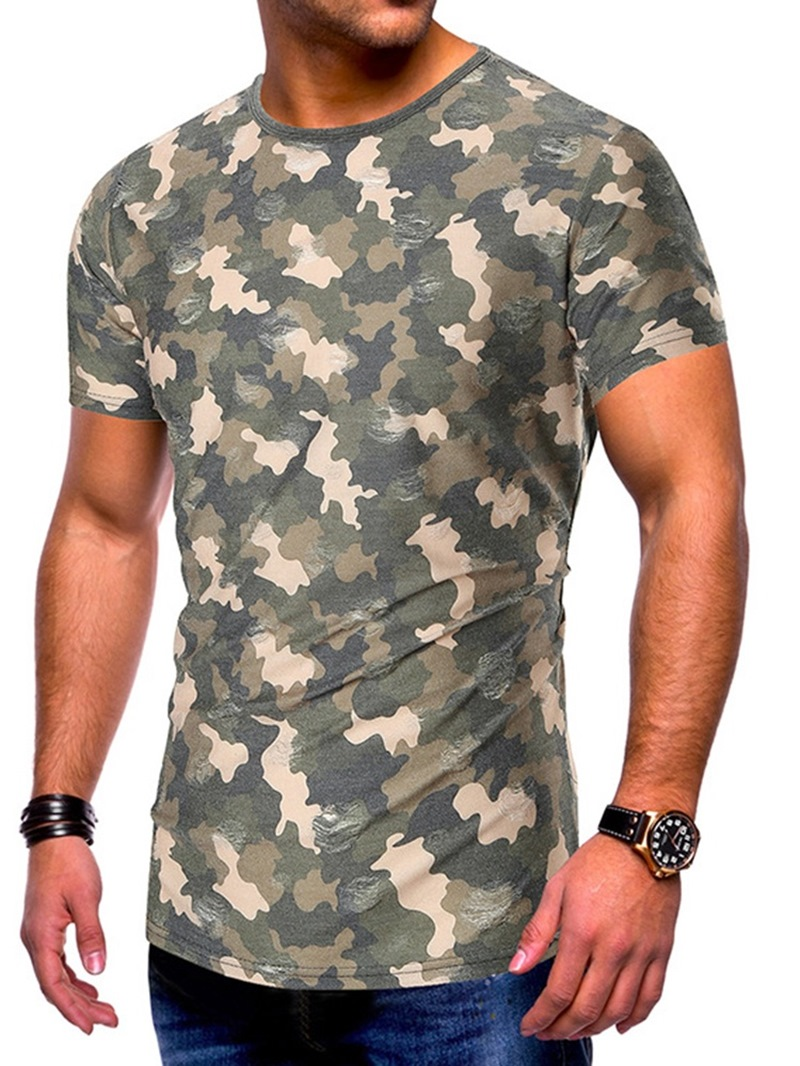 Ericdress Round Neck Camouflage Casual Pullover Slim T-shirt