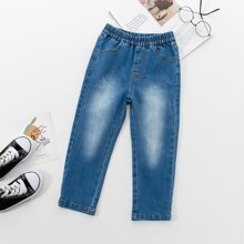 Toddler Girls Elastic Waist Washed Jeans