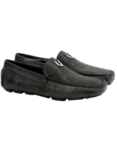 Men's Handmade Black Vestigium Genuine Catshark Loafers