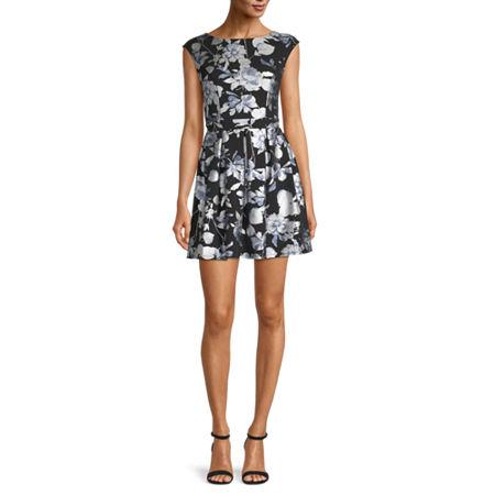 B. Smart-Juniors Short Sleeve Floral Fit & Flare Dress, 1 , Black