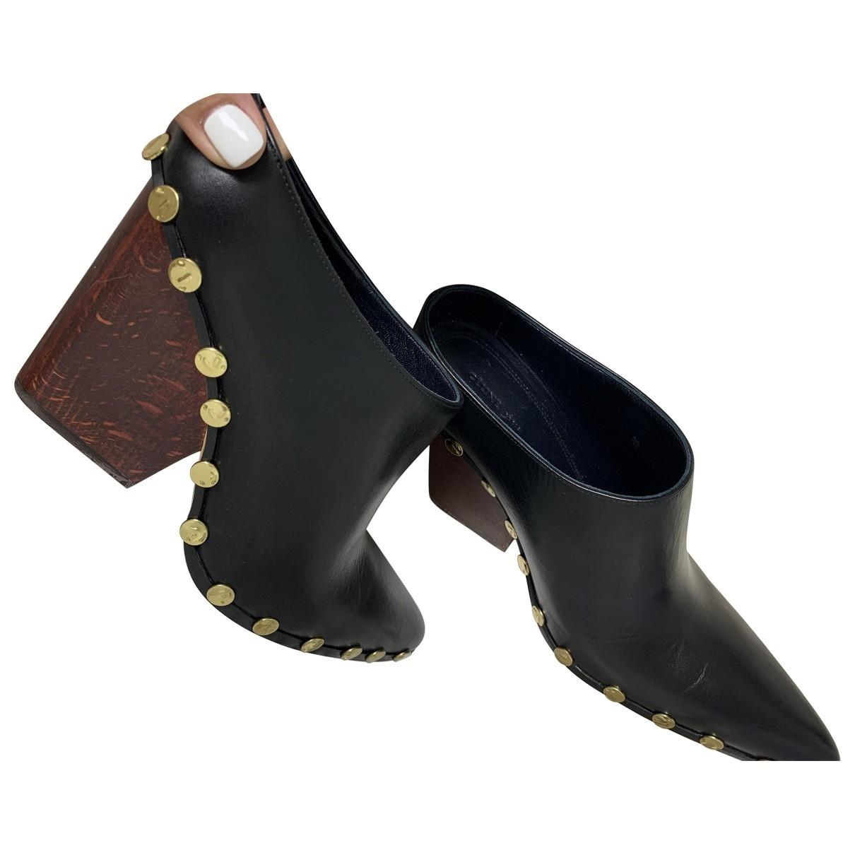 Celine Rodéo Black Leather Mules & Clogs for Women 38 EU
