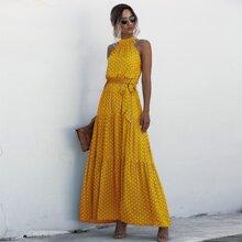 Kleid mit Neckholder, Selbstband, Raffungsaum und Punkten Muster