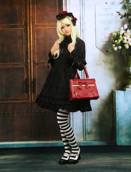 Milanoo Puro Negro Algodon Lolita Enterizo Vestido Largas Mangas Volantes Trim