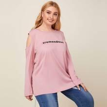Schulterfreies T-Shirt mit Buchstaben Grafik