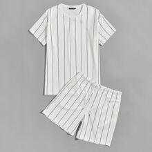 Men Striped Top and Drawstring Waist Track Shorts Set