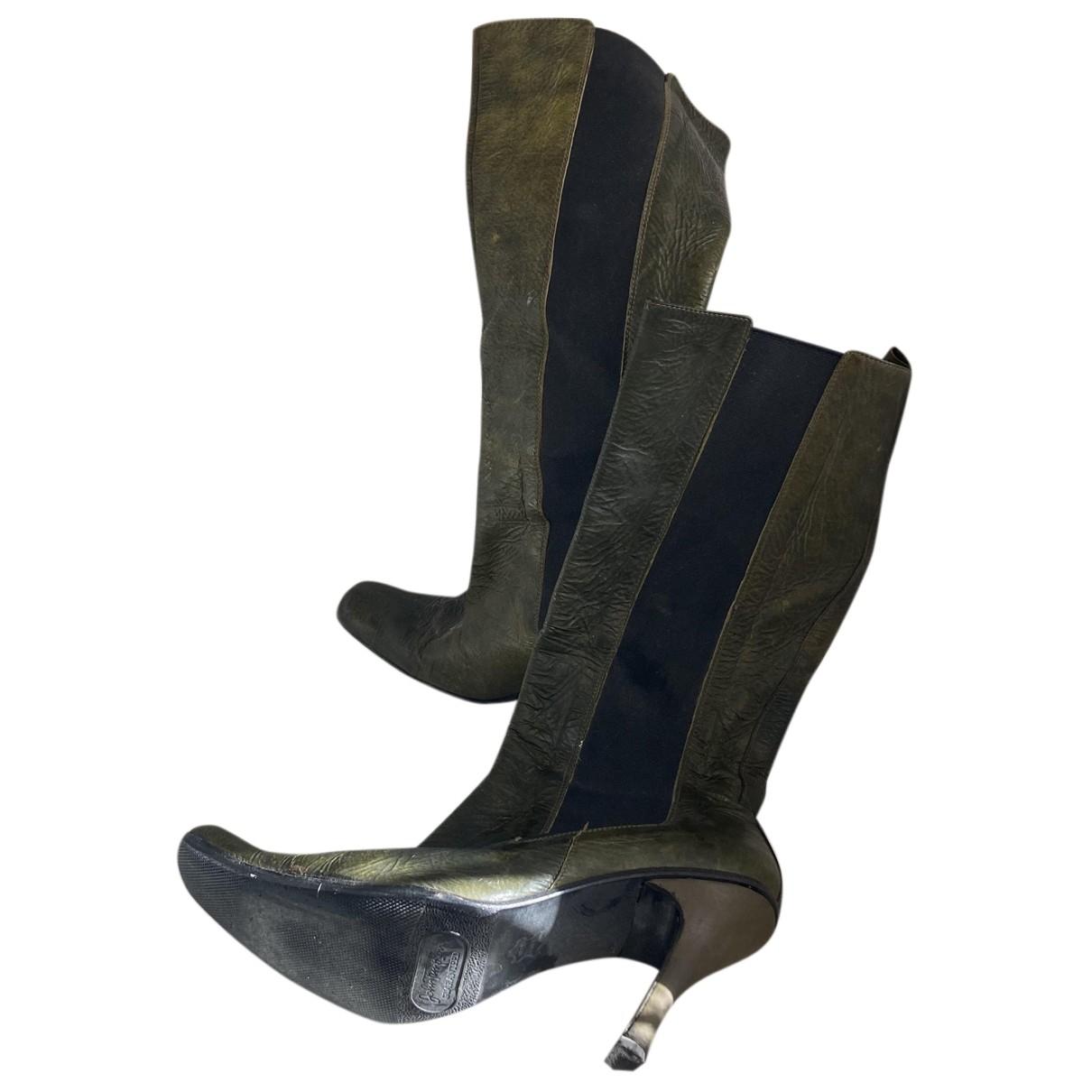 Romeo Gigli N Green Leather Boots for Women 37 EU