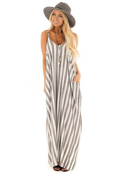 Milanoo Women Maxi Dress Sleeveless Stripes Plus size Summer Dress With Pockets long Warp Dress