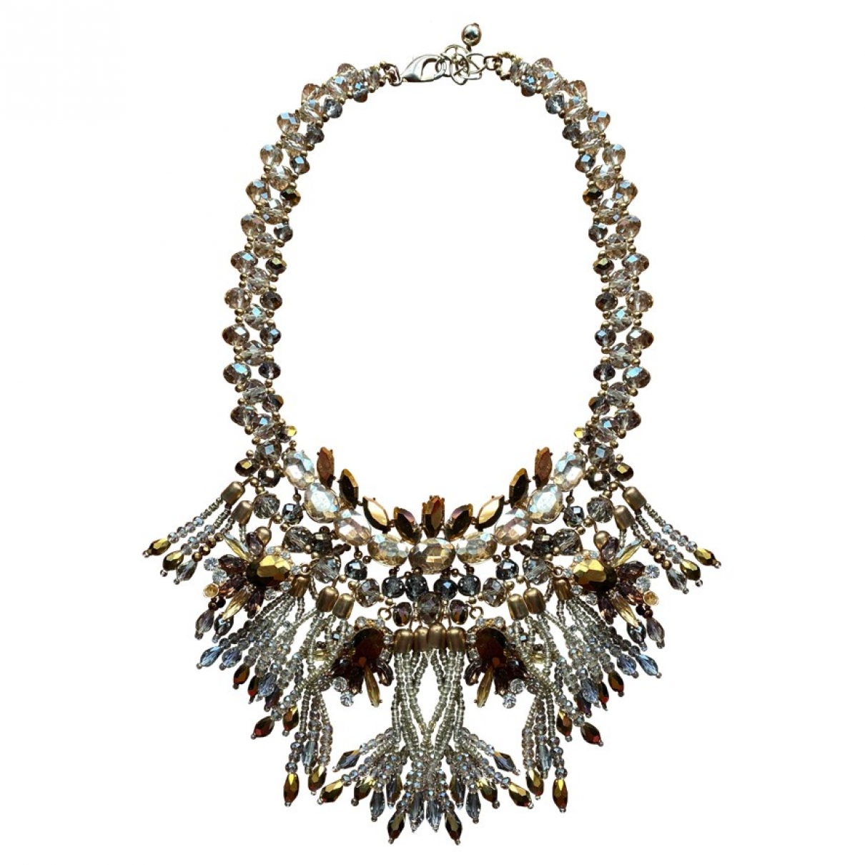 Non Signé / Unsigned Motifs Ethniques Gold Crystal necklace for Women \N