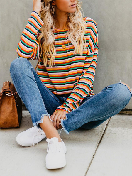 Yoins Red Striped Round Neck Long Sleeves Tee