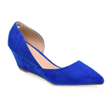 Journee Collection Womens Lenox Pumps Wedge Heel, 8 Medium, Blue