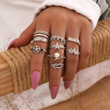 9 Stuecke Ring mit Stern Design