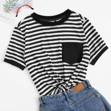 Pocket Patch Striped Ringer Tee