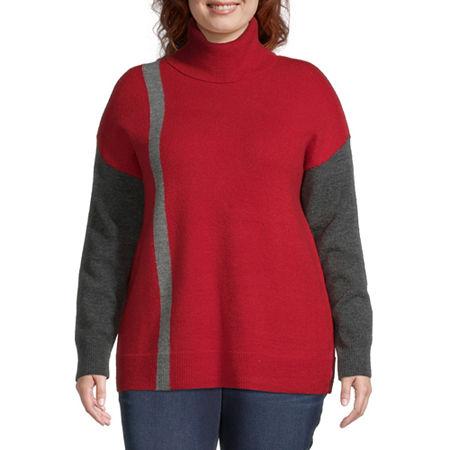 Liz Claiborne Colorbock Sweater - Plus, 4x , Red