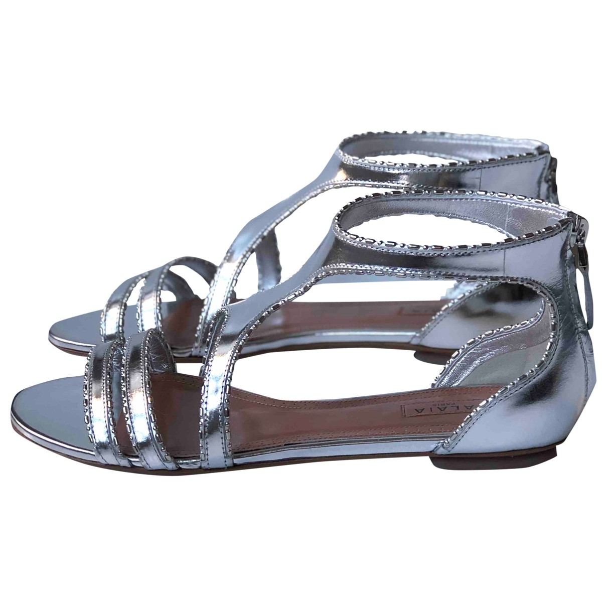 Alaïa \N Silver Leather Sandals for Women 37.5 EU