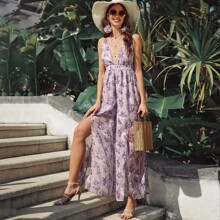 Plunging Neck Crisscross Backless Floral Palazzo Jumpsuit