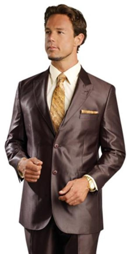 Shiny sharkskin Single Breasted Mens Suit SideVented Brown
