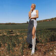Katy Perry's Picks Heart Print Two Tone High Split Skirt