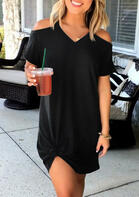 Solid Cold Shoulder Mini Dress without Necklace - Black