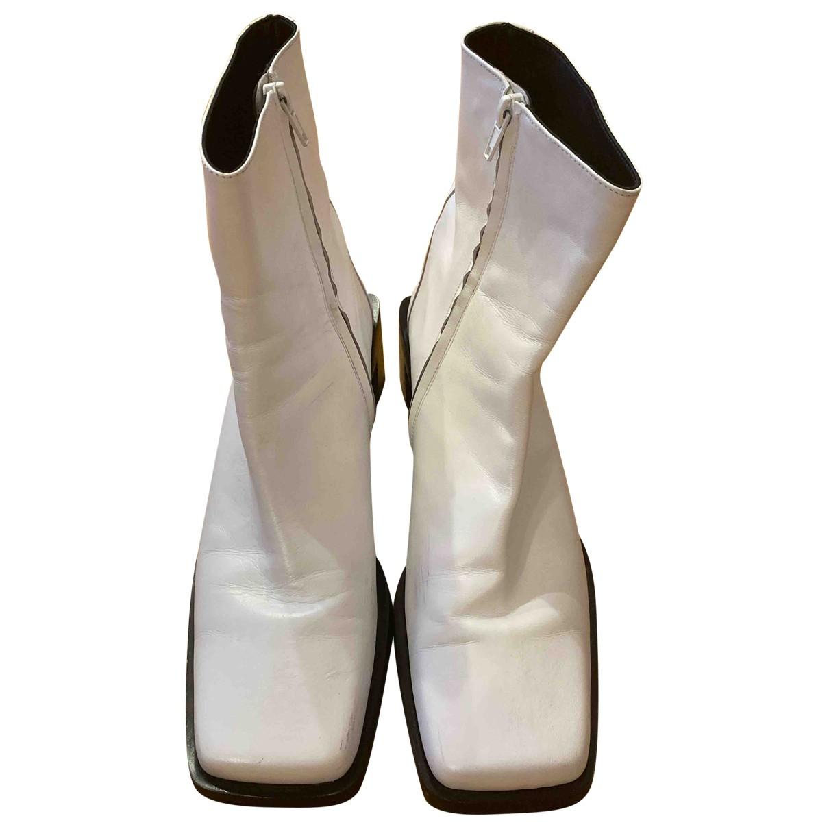 Zara - Bottes   pour femme en cuir - blanc