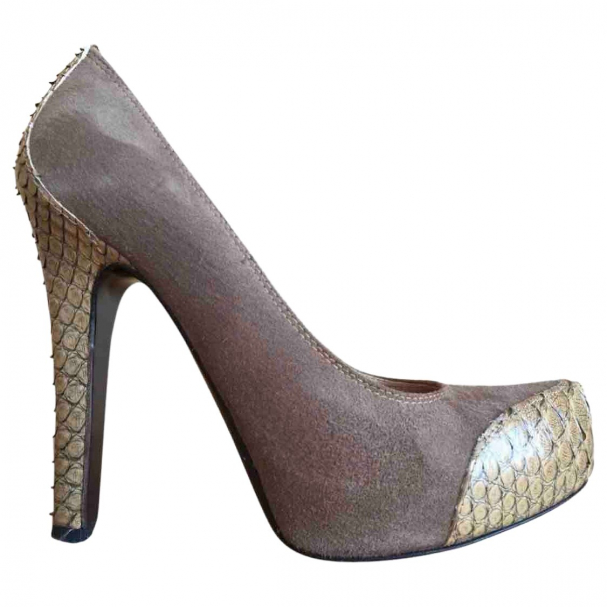 Gianmarco Lorenzi - Escarpins   pour femme en serpent deau - beige
