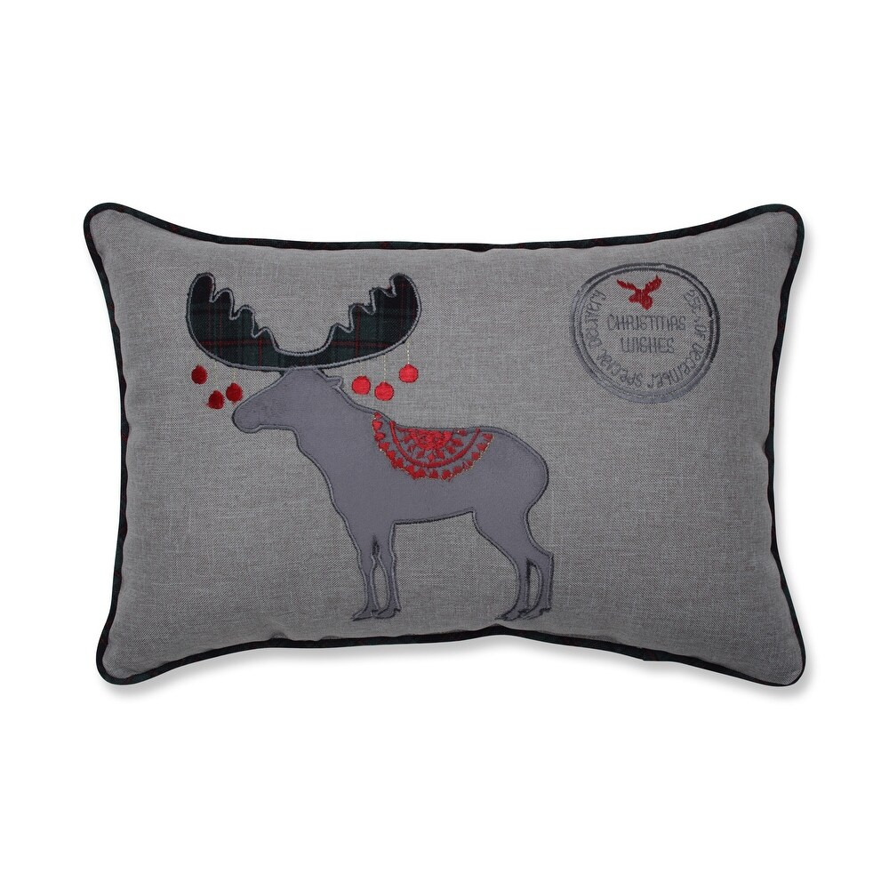 Christmas Wishes Moose 11.5x18.5-inch Throw Pillow (Geometric - Specialty)