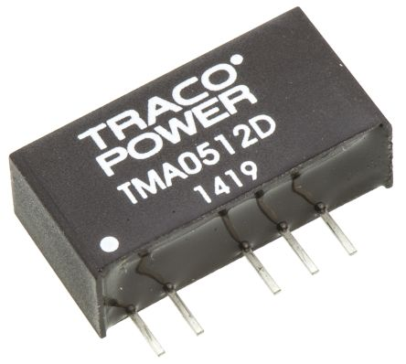 TRACOPOWER TMA 1W Isolated DC-DC Converter Through Hole, Voltage in 4.5 → 5.5 V dc, Voltage out ±12V dc