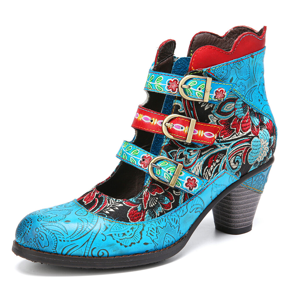 SOCOFY Retro Genuine Leather Flower Embroidery Splicing Elegant Metal Buckle Cutout Chunky Heel Short Boots
